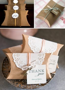 Brown wedding pillow box