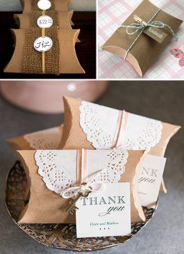 Brown wedding pillow box